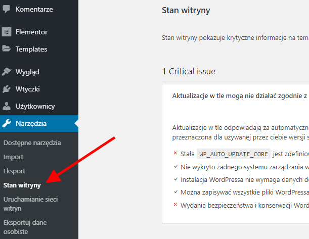 WordPress 5.2 - Stan Witryny