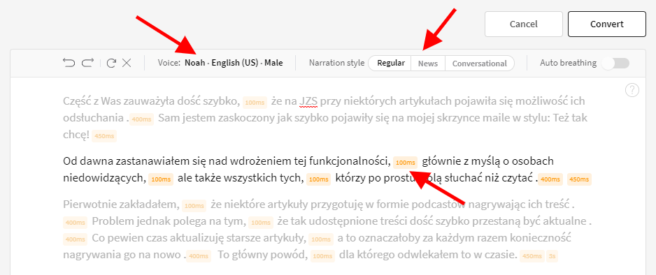 Edytor tekstu Play.ht