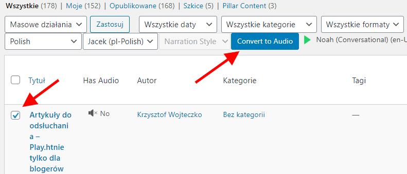 WordPress konwersja na audio