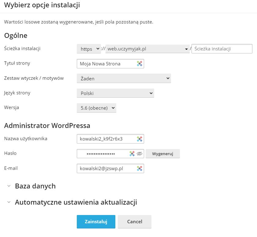 Opcje konfiguracji strony internetowej