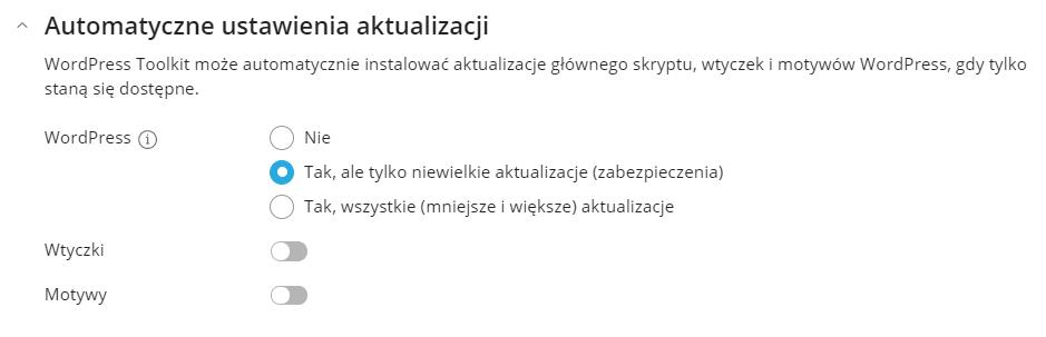 opcjonalna konfiguracja automatycznych aktualizacji WordPressa
