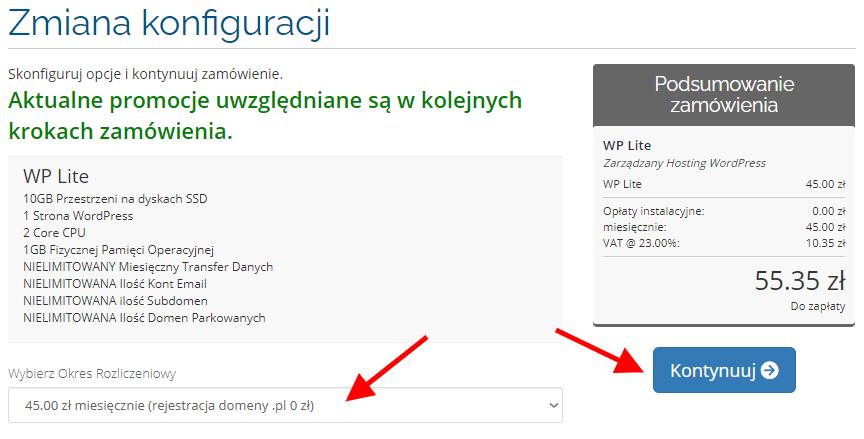 Zmiana konfiguracji konta hostingowego dla strony internetowej