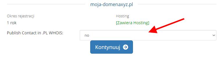 Formularz publikacji danych domeny w bazie WHOIS