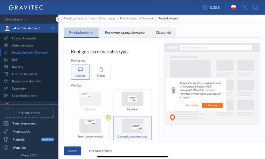 Interfejs aplikacji Gravitec
