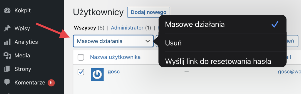 W tym miejscu możesz zainicjować wysyłkę maila z linkiem do resetu hasła.