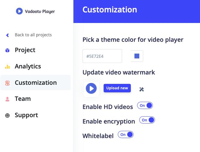 Ustawienia dotyczące dostosowania odtwarzacza wideo