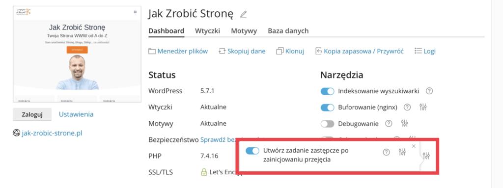 Opcja pozwalająca na automatyczne utworzenie zadania cron dla WordPressa