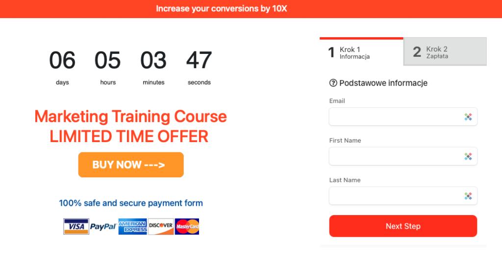 Przykład strony lądowania stworzonej w PayForm