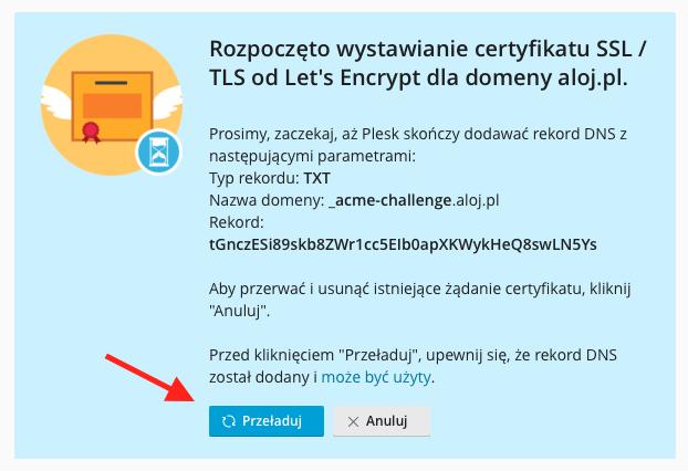 W tym momencie trwa proces modyfikacji strefy DNS.
