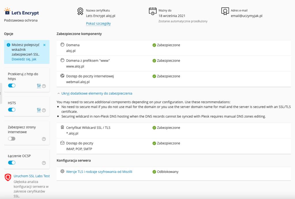 Wszystkie informacje na temat wystawionego certyfikatu SSL i dodatkowe opcje.