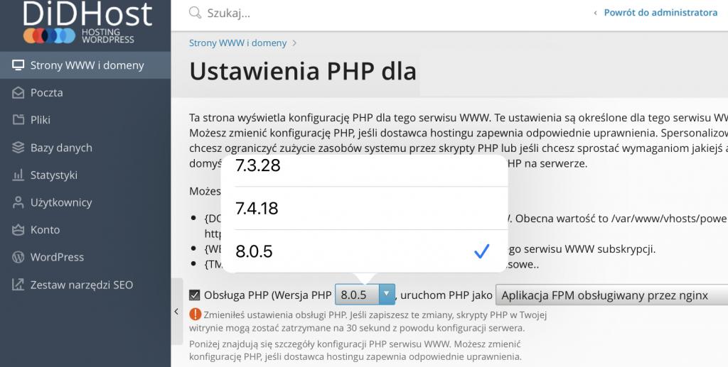 Wybór wersji PHP 8 z listy dostępnych