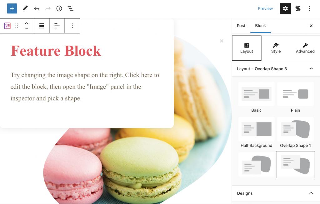 Sekcja Layout bloku wtyczki Stackable