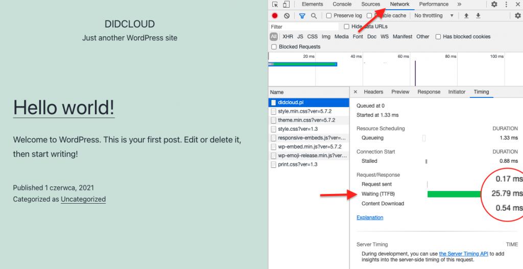 Test TTFB na przykładzie narzędzi dla developerów w przeglądarce Chrome
