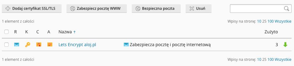 Zarządzanie certyfikatami SSL