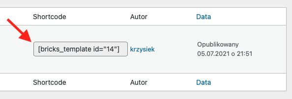 Możliwość osadzenia dowolnego szablonu Bricks za pomocą shortcode