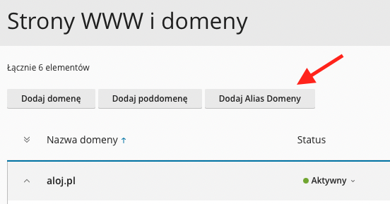 Przycisk dodania domeny jako aliasu innej istniejącej